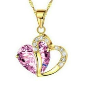 Pink Heart Necklace with Rhinestones NWT-